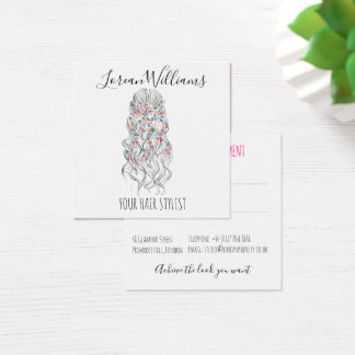 Wavy hair floral wreath Hairstyling appointment Square Business Card