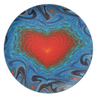 Wavy Heart Melamine Plate