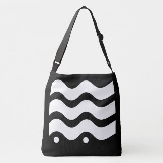 Wavy Lines Black and White Design Crossbody Bag