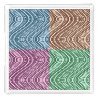 Wavy Lines in Blue/Brown/Green/Purple Acrylic Tray