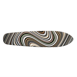 Wavy Lines in Light Brown/Beige/Turquoise Blue Skateboard Deck