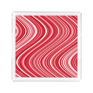 Wavy Lines in Red and White Acrylic Tray