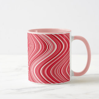 Wavy Lines in Red and White Mug