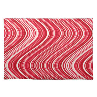 Wavy Lines in Red and White Placemat