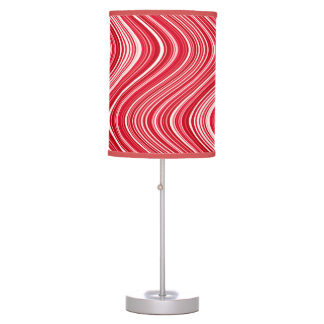 Wavy Lines in Red and White Table Lamp