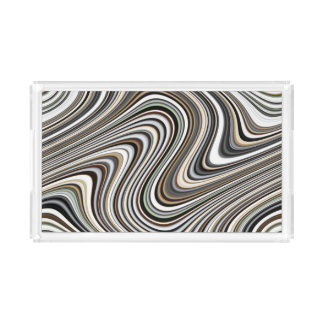 Wavy Lines - Light Brown/Sand/Beige/Turquoise/Blue Acrylic Tray