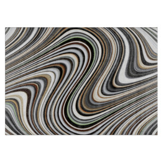 Wavy Lines - Light Brown/Sand/Beige/Turquoise/Blue Cutting Board