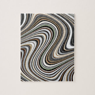 Wavy Lines - Light Brown/Sand/Beige/Turquoise/Blue Jigsaw Puzzle