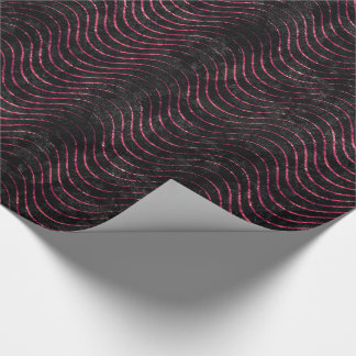 Wavy Luxury Black and pink Glitter Wrapping Paper