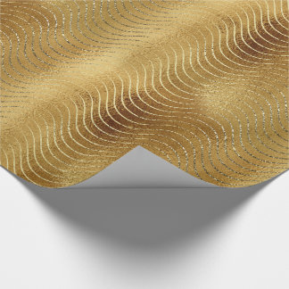 Wavy Luxury Gold Glitter Curves Wrapping Paper