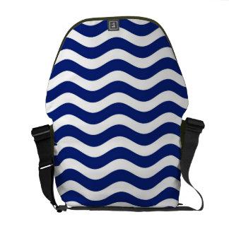 Wavy Navy Stripes decor Messenger Bags