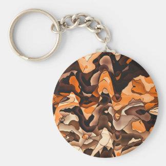 Wavy orange and brown basic round button keychain