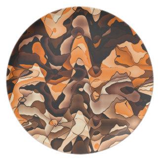 Wavy orange and brown plates