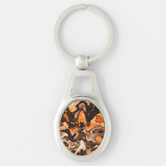 Wavy orange and brown Silver-Colored oval keychain