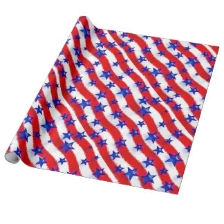 Wavy Patriotic Blue Stars Over Red & White Stripes