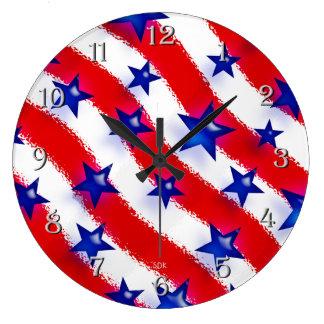 Wavy Patriotic Blue Stars Over Red & White Stripes Clock