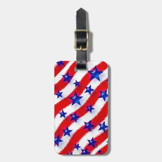 Wavy Patriotic Blue Stars Over Red & White Stripes Luggage Tags