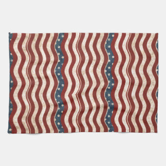 Wavy Patriotic Pattern Kitchen Towel