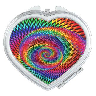 Wavy Rainbow Spiral Fractal Compact Mirror