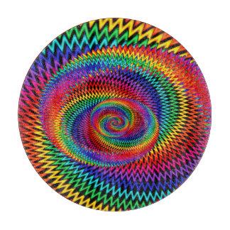 Wavy Rainbow Spiral Fractal Cutting Board