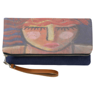 Wavy Red Hair Abstract Art Fold Over Clutch Purse