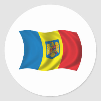 Wavy Romania Flag Classic Round Sticker