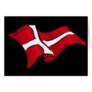 Wavy shaded Danish flag of Denmark Card