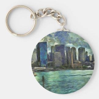 Wavy skyline of Sydney Basic Round Button Keychain