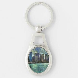 Wavy skyline of Sydney Silver-Colored Oval Keychain