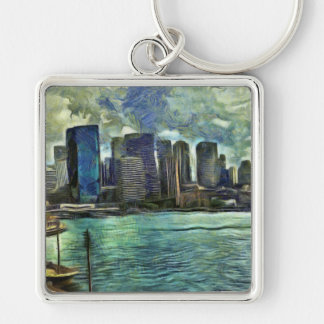 Wavy skyline of Sydney Silver-Colored Square Keychain