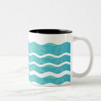 Wavy Stripes- Blue With Flowers: Coffee Mug