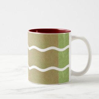 Wavy Stripes- Brown And Green: Coffee Mug