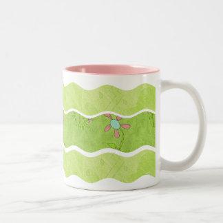 Wavy Stripes- Green Floral: Coffee Mug