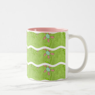 Wavy Stripes- Green With Flowers: Coffee Mug