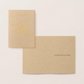 wavy sun rays dots mandala simple thank you gold foil card