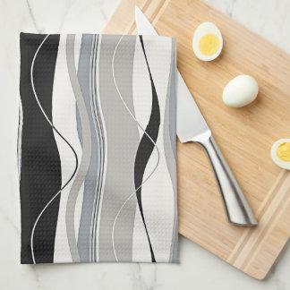 Wavy Vertical Stripes Black Grey & White Kitchen Towel