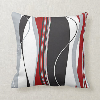Wavy Vertical Stripes Red Black White & Grey Throw Pillow