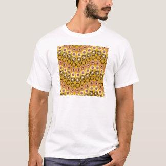 Wavy Yellow and Purple Circle Flowers Pattern T-Shirt