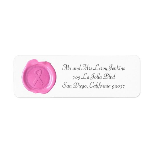 Wax Monogram Address Labels - PINK RIBBON