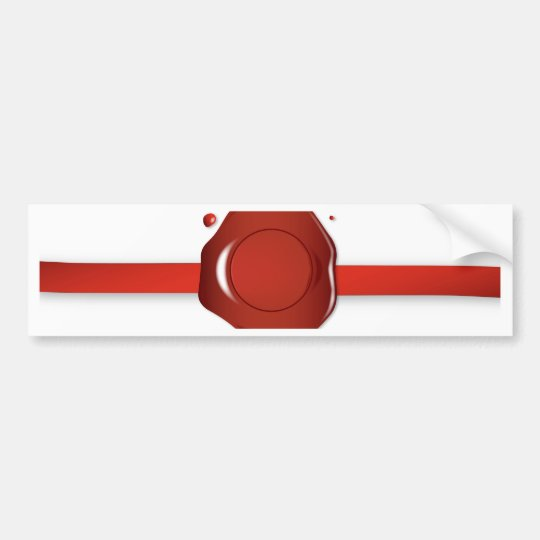 Wax Seal And Red Ribbon Bumper Sticker
