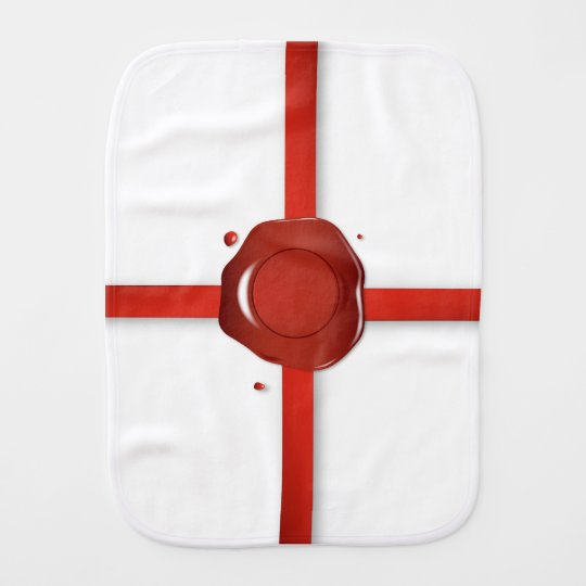 Wax Seal And Red Ribbon Burp Cloth