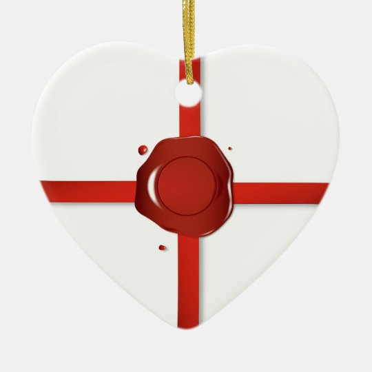 Wax Seal And Red Ribbon Ceramic Ornament