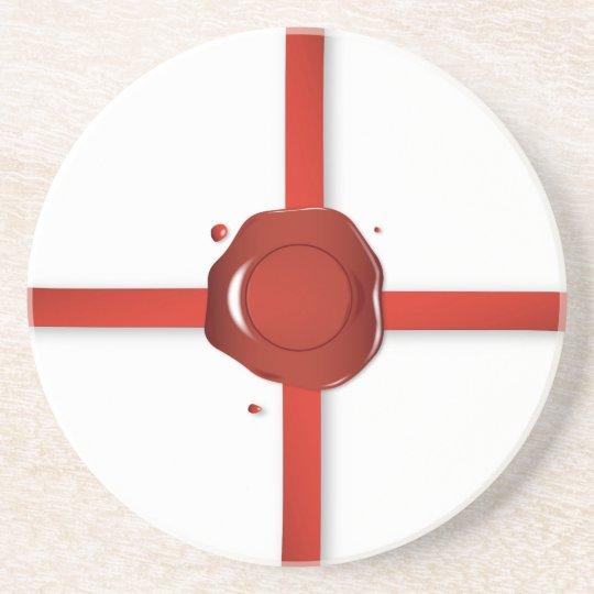 Wax Seal And Red Ribbon Coaster