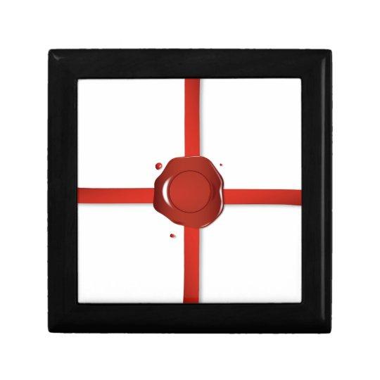 Wax Seal And Red Ribbon Gift Box