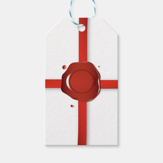 Wax Seal And Red Ribbon Gift Tags