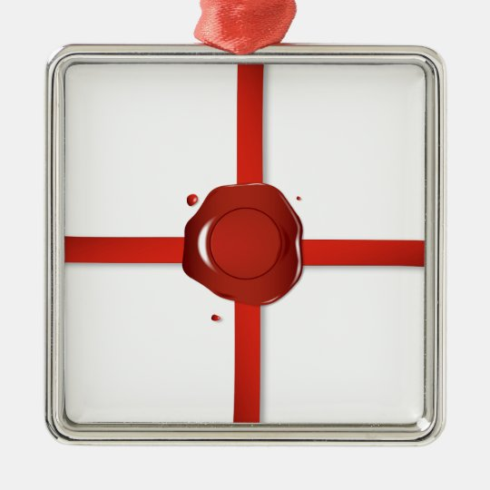Wax Seal And Red Ribbon Metal Ornament