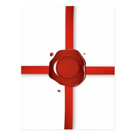 Wax Seal And Red Ribbon Postcard
