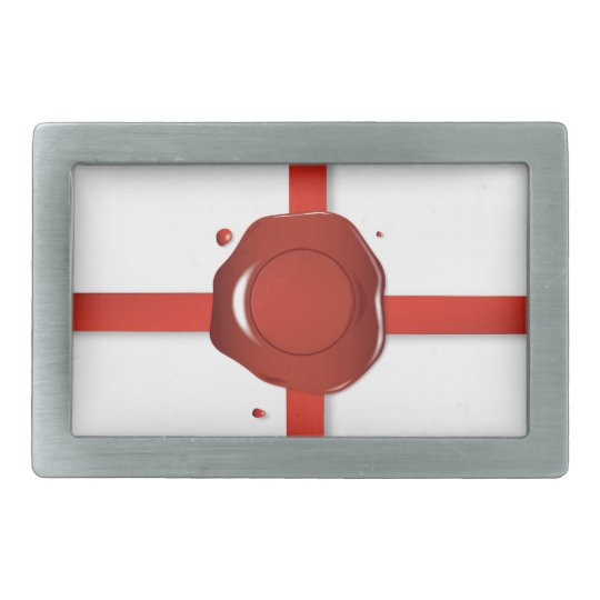 Wax Seal And Red Ribbon Rectangular Belt Buckle