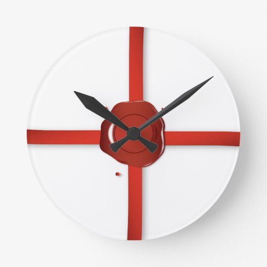Wax Seal And Red Ribbon Round Clock