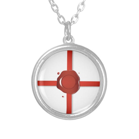 Wax Seal And Red Ribbon Silver Plated Necklace